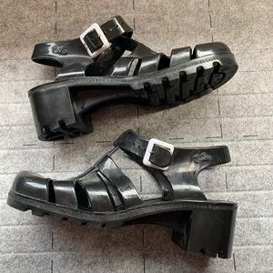 Juju Babe Black Heeled Jelly Sandals